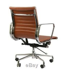 Modern Style Low Back Thin Pad Leather Office Chair Tan Brown