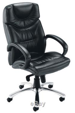 Nevada Luxury Leather Executive Office Swivel Chair in Black CH0241