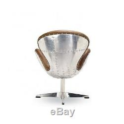 New Aviation Aviator Swivel Swan Chair Vintage Leather & Aluminium Office Study