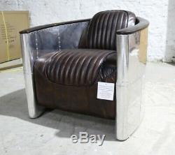 New Aviator Pilot Tub Club Chair Office Industrial Vintage Tobacco Brown Leather