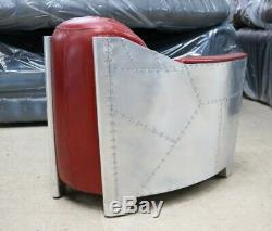 New Aviator Rocket Club Tub Chair Office Home Industrial Vintage Red Leather