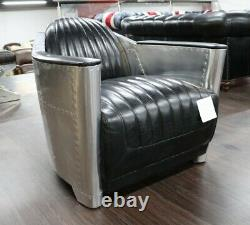 New Aviator Rocket Tub Chair Office Home Retro Gaming Vintage Black Leather