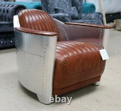 New Aviator Rocket Tub Chair Office Home Retro Industrial Vintage Tan Leather