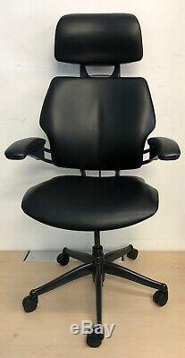 New Black Leather Humanscale Freedom Headrest Coat Hanger Ergonomic Office Chair