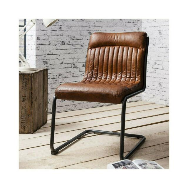 New Capri Real Leather Chair Industrial Office Dining Chair Antique Tan £395