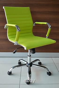 New GREEN Ribbed Faux Leather Classic Designer Office Chair Eames