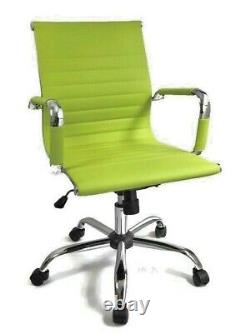 New LIME GREEN Ribbed Designer Office Chair Faux Leather