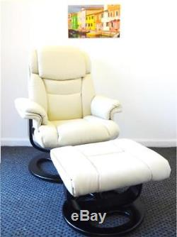 New Leather Swivel Recliner Armchair Lounger Footstool Chair Gaming Home Office