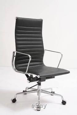 New Office Chair High Back Ribbed Mid Black Leather
