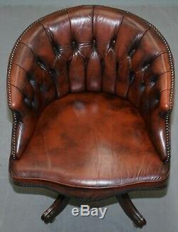 Nice 1967 Stamped Brown Leather Chesterfield Brown Leather Captains Office Chair