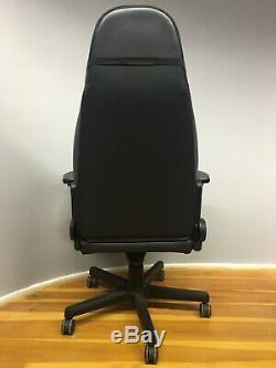 Noble Executive Gaming Chair Computer Blue Black Leather Lift Armrest Recliner