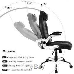 Office Chair Computer Desk Massage PU Leather Swivel Adjustable Executive Gaming
