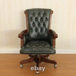 Office Chair, LARGE, 67x83x111cm Walnut NC, mahogany, LEATHER, FREE DELIVERY