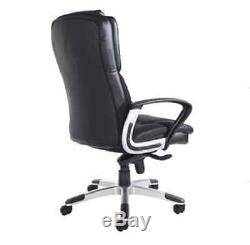 Office Chair Leather Faced Executive Swivel Back Desk Computer Furniture Black
