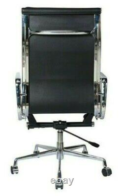 Office Chair Leather High Back Soft Pad Modern Style Black