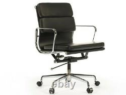 Office Chair Leather Low Back Soft Pad Modern Style Black