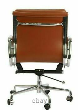 Office Chair Leather Soft Pad Modern Style Low Back Tan Brown