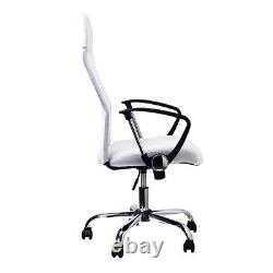 Office Chair White Mesh Computer Swivel Desk Executive PU Leather Furniture