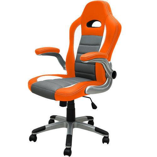 Office Computer Chair Desk Gaming Luxury Pc Wheels Seat Leather Executive Orange