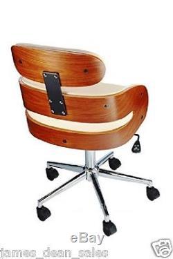 Office Desk Chair Swivel Tub Leather Armchair Modern Home Cream White Furniture