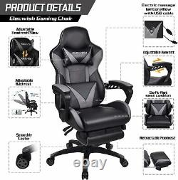 Office Gaming Chair Computer Desk Executive Recliner Leather Footrest with Massage