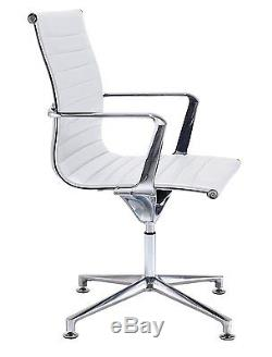 Office Hippo Executive Visitor Chair with Chrome Arms, Faux Leather White