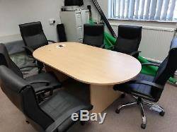 Office Meeting Room- Board Room Table and 6 Leather Chairs