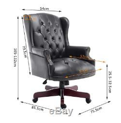 Office PU Leather Chair Directors Chesterfield Antique Style Swivel Executive