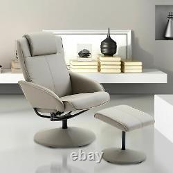 Office Reading Chair Set Modern Reclining Lounger Seat Footstool Ergonomic Grey