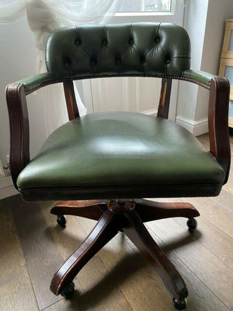 Old Captains Office Chair Chesterfield Swivel Leather Diy Green Interiors