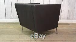 OrangeBox Dee Designer Black Leather Reception Office Sofa Delivery Available