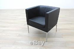 Orangebox Drift Black Leather Office Reception Tub Chair