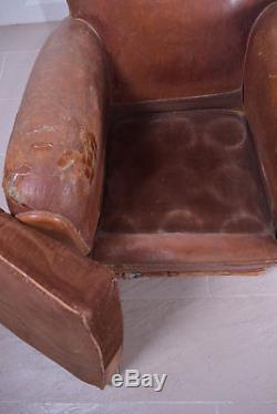 Original Antique 1930s Tan Leather Club Arm Chair Moustache Office (Inc. VAT)