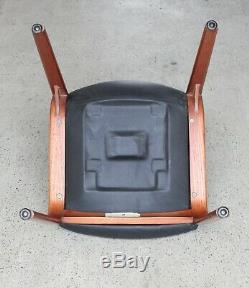 Original Gordon Russell Chair Black Leather and Rosewood Frame