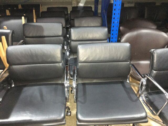 Original Vitra Charles & Ray Eames Ea 217 Softpad Leather Swivel Chair