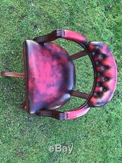 Oxblood Leather Chesterfield Captains Office Chair FREE DELIVERY