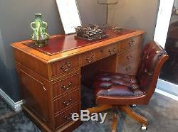 Oxblood Leather Top Desk & Leather Office Chair