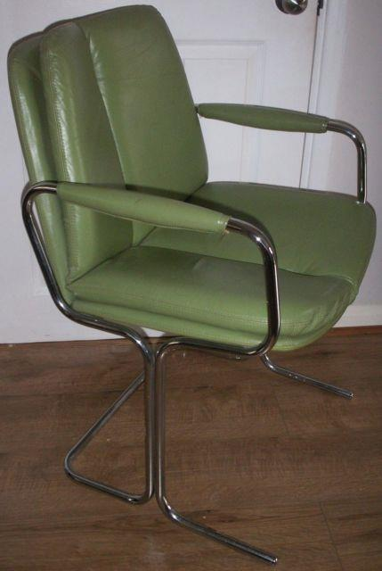 Pieff Eleganza Green Leather 1970's Dining/office Chair, From Harrods, Vintage