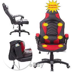 PU Leather Massage Swivel Office Chair 6 Points Reclining Adjustable Seat Pillow