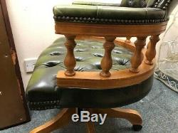 Pair Of Chesterfield Green Leather Captains Office Desk Chairs
