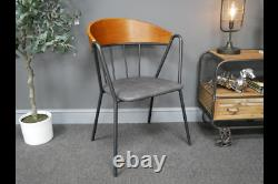 Pair Of Industrial Retro Rustic Grey Faux Leather Dining Office Chairs (dx7137)