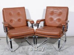 Pair Of Vintage Tan Brown Leather Office Desk Chairs Chrome Frame 1970s Verco