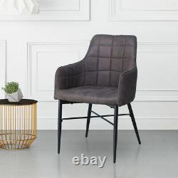Pair of Grey Faux Leather Dining Chairs Office Chair Armchairs Kitchen Retro