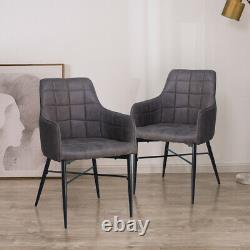 Pair of PU/Velvet Dining Chairs Office Armchairs Metal Legs Home Kitchen Luxury