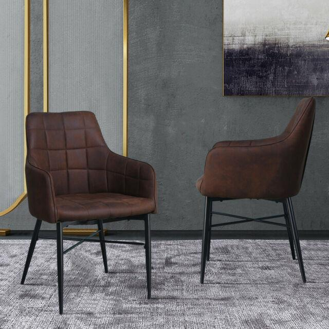 Pair Of Retro Faux Leather Dining Chairs Brown Armchairs Kitchen Office Chair