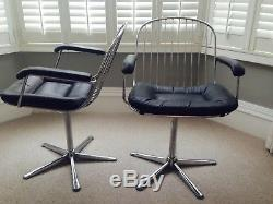 Pair of original 1960s soft leather chrome swivel office chairs very comfortable