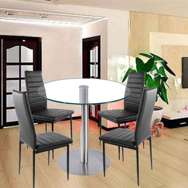 Panana Clear Round Glass Dining/kitchen Table And Chairs Home Office Lounge Set