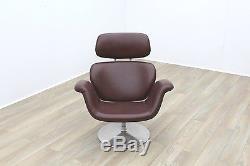 Pierre Paulin Artifort Tulip Lounge Chair in Brown Leather Hide