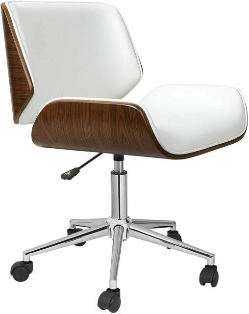 Porthos Home Dove Office Desk Wooden Chair With Padded Accent D21 X H30, White