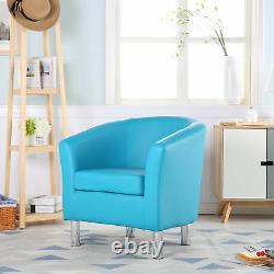 Premium Aqua Blue Leather Tub Chair Armchair Dining Living Room Office Reception